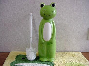 トイレブラシセット 陶器 かわいい カエル グッズ カエルの置物カエルトイレブラシセット