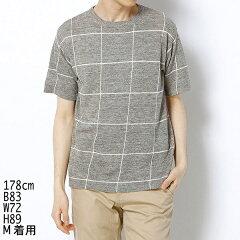 BY リネン ウィンドーペン Tシャツ/ビューティ&ユース(メンズ)(BEAUTY&YOUTH)【メンズシャツ】