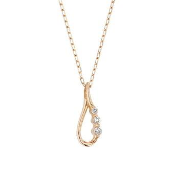 K10ピンクゴールドダイヤモンドしずくネックレス/ブルーム(BLOOM)