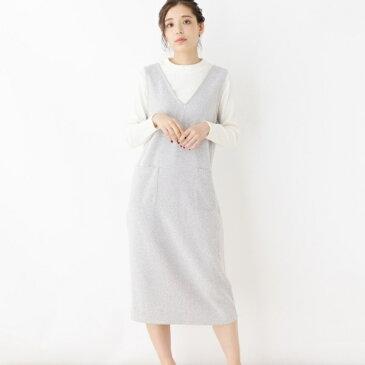 Lスカート(ツイード風ジャンパースカート+リブニットソー)/ピンクアドベ(pink adobe)
