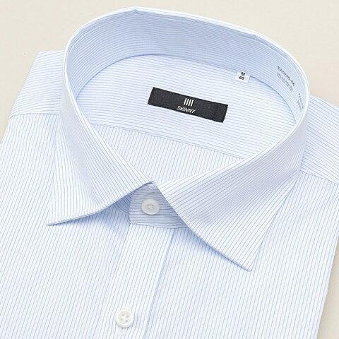 ワイドカラードレスワイシャツ/ホワイト×ブルーストライプ×ドビー 【SKINNY MODEL 細め】/スーツセレクト(メンズ)(SUIT SELECT)