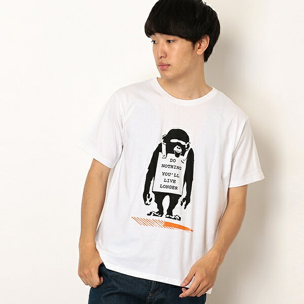 トップス, Tシャツ・カットソー TBanksyDo Nothing-MonkeysigndesignUNIO N STATION