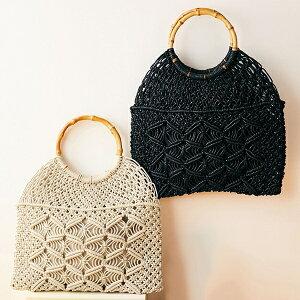 マクラメ編みバンブーハンドルバッグ/ジーラ バイ リュリュ(ファッション)(GeeRA (fashion))