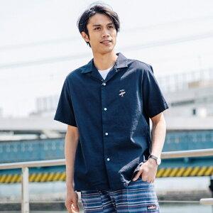 綿麻パナマ刺繍シャツ(麻混・ストレッチ)/クリフメイヤー(メンズ)(KRIFF MAYER)