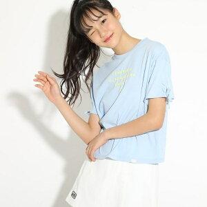 ★ニコラ掲載★袖レースアップシンプルロゴTシャツ/ピンクラテ(PINK latte)