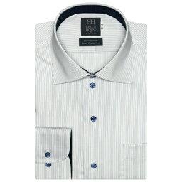 形態安定 ノーアイロン 長袖ワイシャツ ワイド 白×ブルーストライプ 標準体/ブリックハウス(BRICKHOUSE)