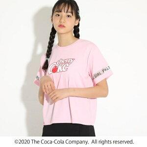 ★ニコラ掲載★【COCA-COLACherry Cokeコカ・コーラチェリーコーク】袖メッシュラインTシャツ/ピンクラテ(PINK latte)
