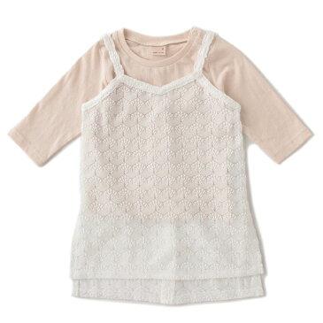 レースロングキャミソール×Tシャツセット/プティマイン(petit main)