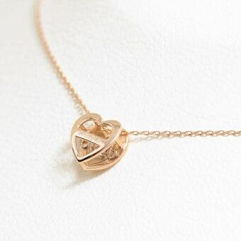 【ダンシングストーン】K10ピンクゴールドダイヤモンド(0.05ct)ハートネックレス/ブルーム(BLOOM)