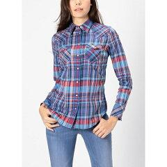 【SALE】テーラードパターンを使用したチェックシャツウエスタンチェックシャツ-ブループリント...