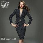 ネックスリーブビジネス高級スカートスーツ(hq-suit58)スカートスーツフォーマル紺ビジネス秋冬