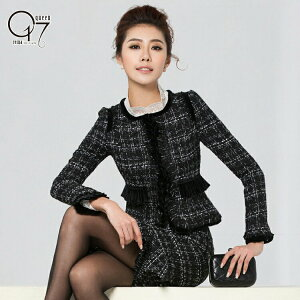 【送料無料】【在庫限定】フロントフリルカラーのツイードスカートスーツ (hq-suit-18)