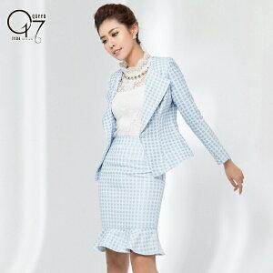 【送料無料】【在庫限定】ブルー千鳥柄が上品エレガントなスカートスーツ (hq-suit-30)