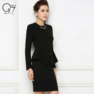 【送料無料】シックなブラックノーカラースカートスーツ (hq-suit-34)