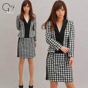 千鳥風チェック柄の大人リッチなスカートスーツ (suit-14)