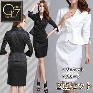 【送料無料】薔薇のモチーフが印象的なスカートスーツ (suit-51)