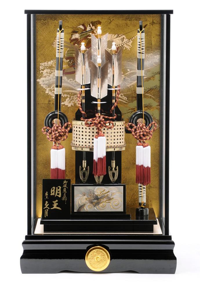破魔弓 久月 ケース飾り 明王 彫金 18号 黒塗ケース カブセケース オルゴール付 h291-k-myouou18:雛人形・5月人形の人形屋ホンポ