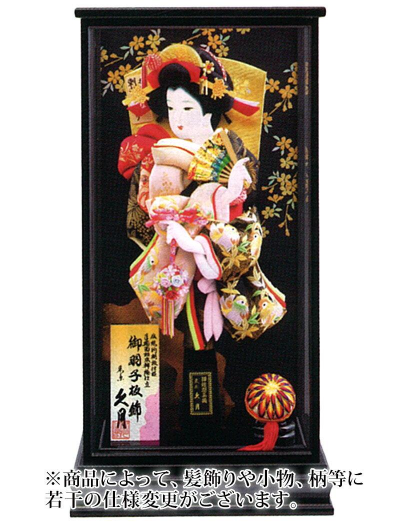 羽子板 久月 ケース飾り 山桜 刺繍振袖 手描面相本押絵仕立 15号 黒艶消面取ケース 【2018年度新作】 h301-k-25660-1:雛人形・5月人形の人形屋ホンポ
