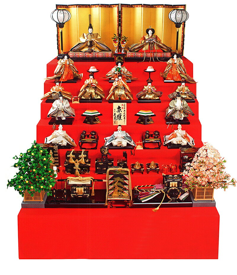 七段飾り 十五人飾り 平安桂甫作 京雛 正絹本金 五番親王