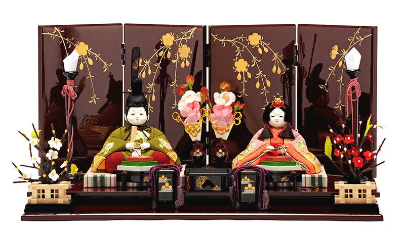 木目込み 親王飾り 平飾り 桜寿雛 本金金彩 緑