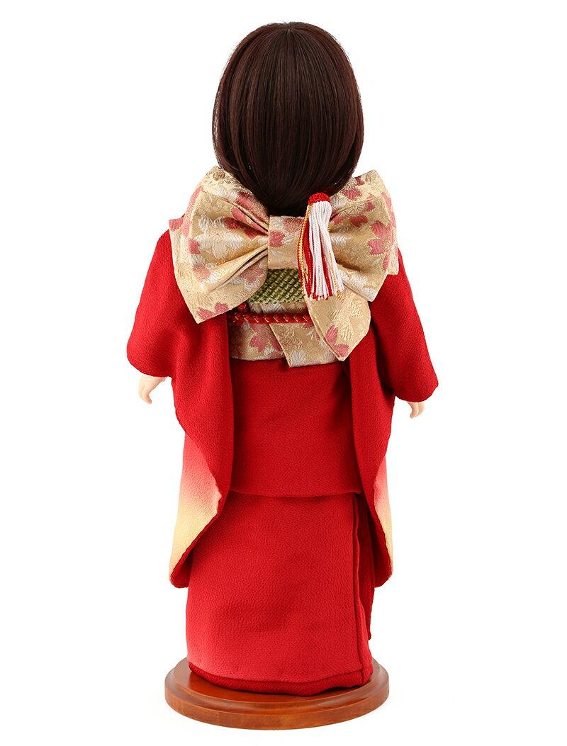 aya 着物セット 正絹 赤ぼかし 桜に鞠 ショートボブ(レッドブラウン) スタンド付
