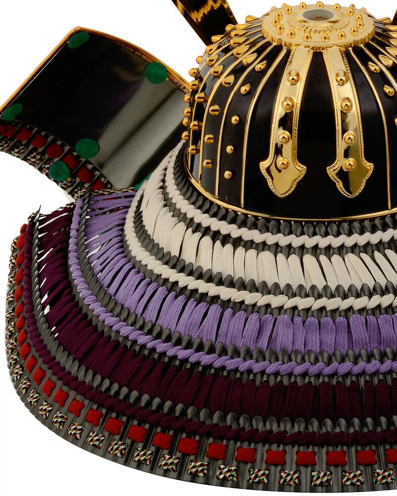 透かし彫り昇龍 大鍬形之兜 黒小札正絹紫裾濃縅
