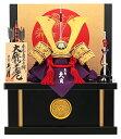 【エントリーで更にP10倍】 五月人形 兜 収納 飾り 久月 コンパクト 大鍬形之兜 黒小札 正絹赤