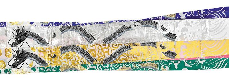 黄金金太郎鯉 黄金龍吹流し ポリエステル鯉 家紋・名前入れ可能