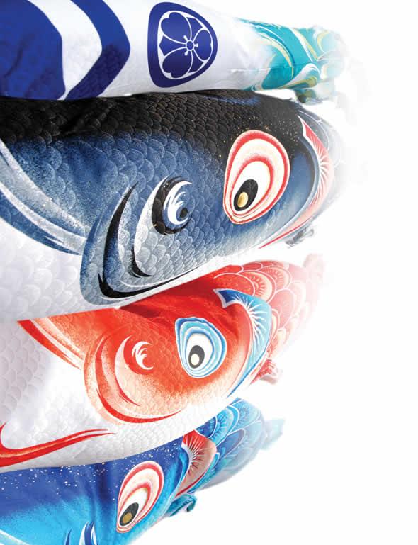 風舞い 薫風の舞い鯉 撥水加工 ポリエステルジャガード織 家紋・名入れ可能