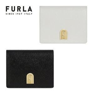 FURLAフルラ折り財布折財布二つ折りシボエンボスfurla1927ウォレットブラック黒ホワイト白本革レザー