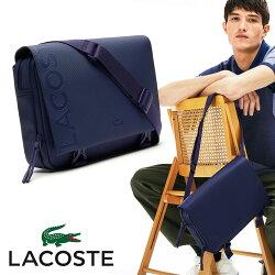 LACOSTEラコステメッセンジャーNH3132POネイビー紺色ワニ斜めがけフラップバッグショルダーバッグ通勤通学カバン鞄軽量タブレットななめがけワンショルダーボディバッグメンズバッグ
