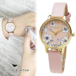 オリビアバートンOLIVIABURTON腕時計レディース時計グルービーブルームズエコキャンディピンクゴールド女性用革ベルトmidi30mmミディ
