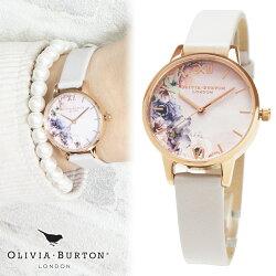 【あす楽◎ラッピング無料】オリビアバートンOLIVIABURTON腕時計レディース時計ウォーターカラーフローラルブラッシュローズゴールドOB16PP54花柄ホワイトレザーベルトミディ