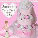 3段おむつケーキCute Pink【商品到着後レビューを書いて送料無料】【楽ギフ_のし宛書】【楽ギフ_メッセ入力】【RCP】