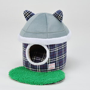 【あす楽】ボンビアルコン お庭つき ねこハウス チェックブルー 猫用ハウスベッド 4977082796502 #w-143616【猫ベッドSALE】
