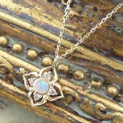 オパール ネックレス レディース シンプル☆Royal Classic☆アンティークの宝石箱をのぞいたよう…!クラシカルな雰囲気が今の気分♪『オパール』と『ダイヤモンド』のネックレス★K10イエローゴールド10月の誕生石 10k 10金 YG