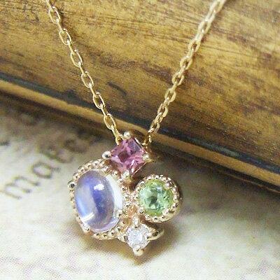 『Fleurs Jouer-フルール・ジュエ-』月の光をたたえた『ブルームーンストーン』天然石が遊ぶ、こだわりカットのネックレス。K10イエローゴールド ネックレス【1.4.8月の誕生石】誕生日 プレゼント