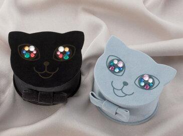 おめめがキラリ☆にゃんにゃんにゃんこのジュエリーボックス(ブラック・ロシアンブルー)誕生日 プレゼント  ジュエリー収納 アクセサリーボックス ジュエリーケース ねこ NEKO 猫