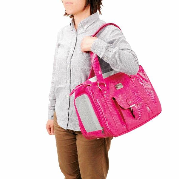 【特価】 キャリーバッグ レザー調ピンク