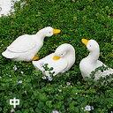 【陶器置物】可愛いあひるの置物、まねきねこダック、アヒルネコダック(お庭/玄関/ポーチ)陶...