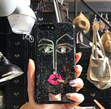 送料込み かわいいスマホケース iPhoneXSMAX 携帯ケース スマホケース iphone iphoneケース 唇 フェイス モバイルケース キラキラ グリッター おしゃれスマホケース かわいい おしゃれ 携帯ケースカバー 韓国 mikiwuu ミキウー MadameStar
