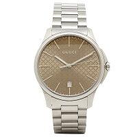 グッチ時計GUCCIYA126317G-タイムレスメンズ腕時計ウォッチブラウン/シルバー