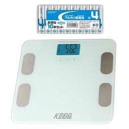 マクロス 体重体組成計 カラダスケール ホワイト + アルカリ乾電池 単4形10本パックセット MEHR-10WH+HDLR03/1.5V10P