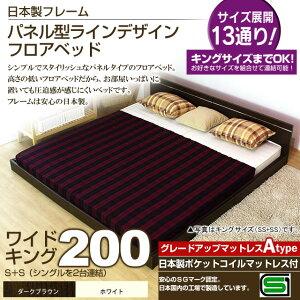 パネル型ラインデザインフロアベッド(日本製ポケットコイルマットレス付)ワイドキング200