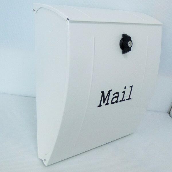 【送料無料】大容量 郵便ポスト 郵便受け 錆びにくい メールボックス壁掛け白色 ホワイト ステンレスポスト pm024 (white)