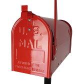 【送料無料】郵便ポスト 郵便受け USメールボックススタンドタイプお洒落なレッド色ポスト(red)