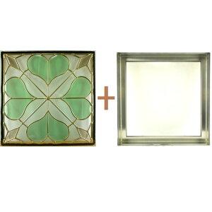 ステンドグラスステンドグラスガラス三層パネル窓ドア枠セットsgsq401f