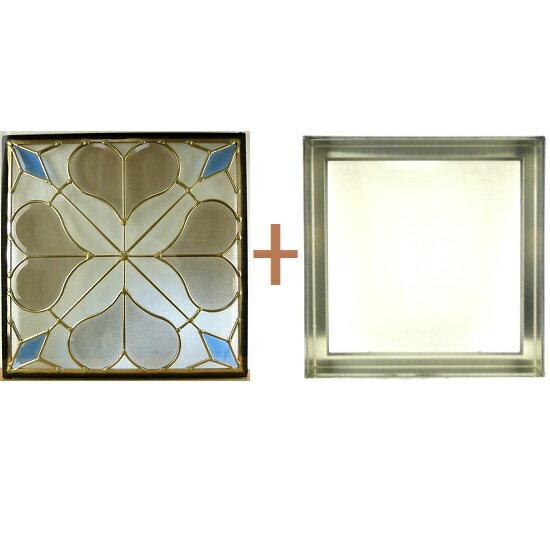 【ポイント20倍】ステンド グラス ステンドグラス ガラス 三層パネル窓ドア枠セット:インテリアの壱番館