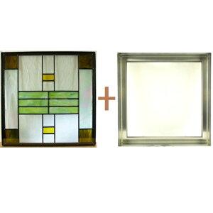 ステンドグラスステンドグラスガラス三層パネル窓ドア枠セットsgsq426f