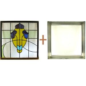 ステンドグラスステンドグラスガラス三層パネル窓ドア枠セットsgsq433f